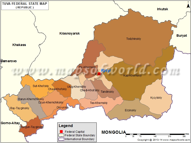Tyva Republic Map, Russia