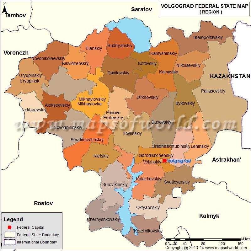 Volgograd Oblast Map, Russia