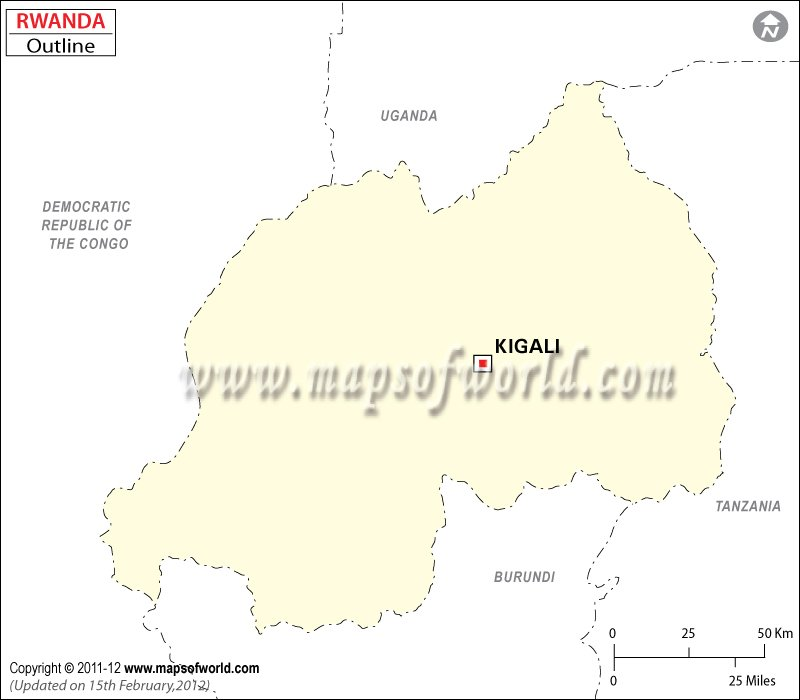 Rwanda Time Zone Map