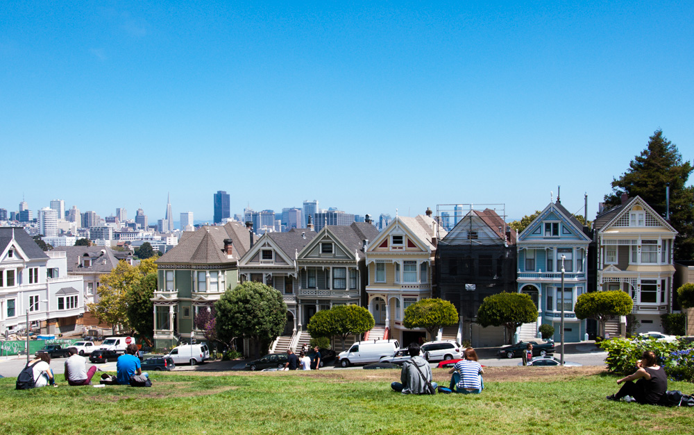 San Francisco's Painted Ladies on Postcard Row at Alamo Square