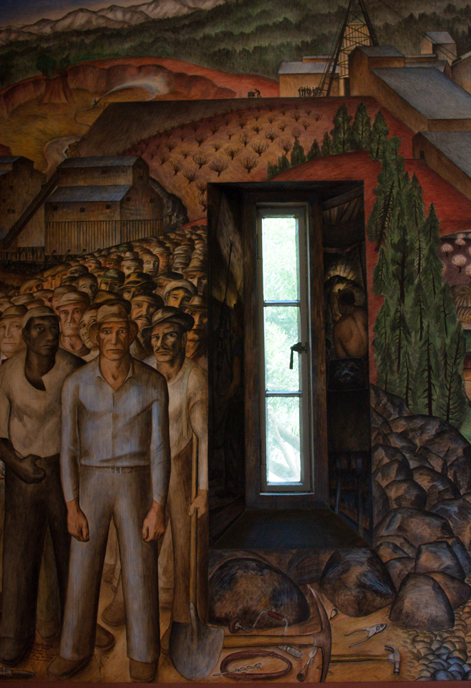 A mural depicting Depression-era laborers