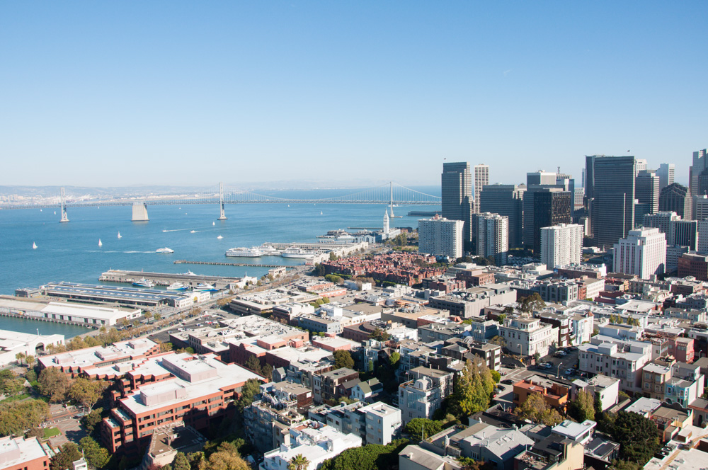 View of downtown and the Bay Bridge from the top