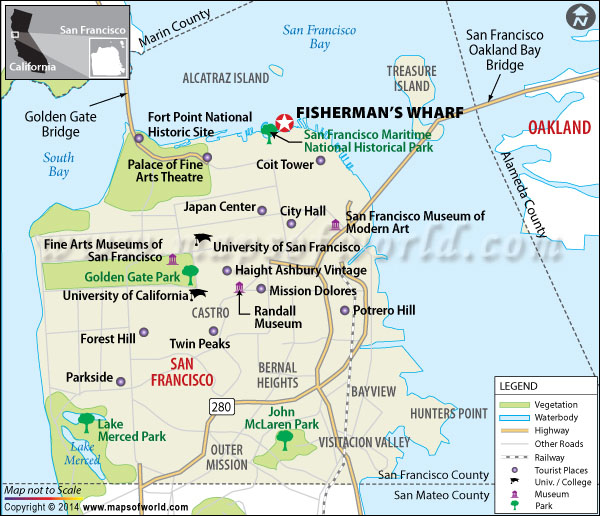 Fisherman's Wharf Location Map