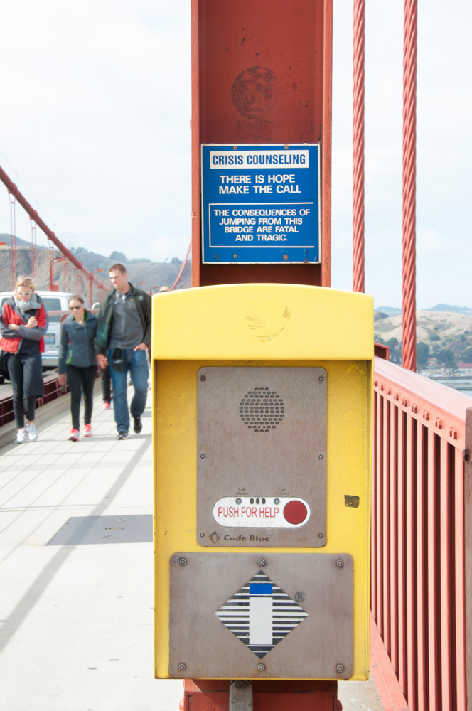Crisis Counseling hotlines on Golden Gate Bridge