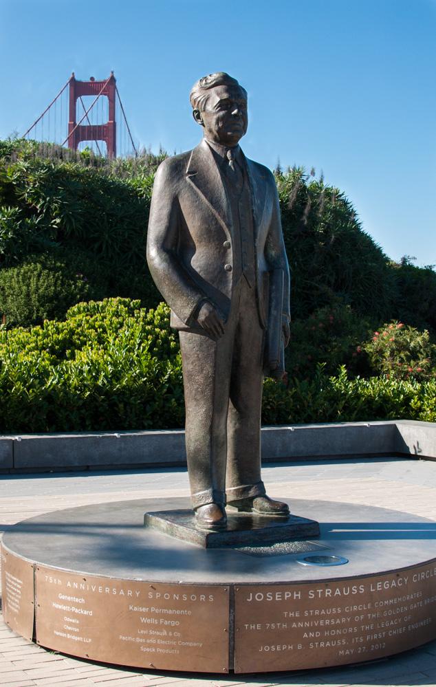 Statue of Joseph Strauss at Golden Gate Bridge