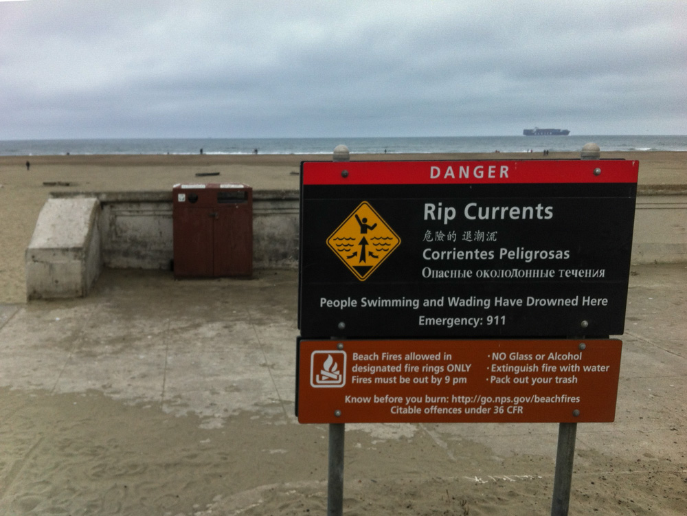 Signs warn of rip currents at Ocean Beach