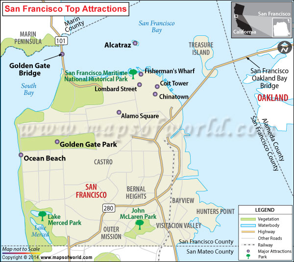 Map of Top tourist attractions in San Francisco