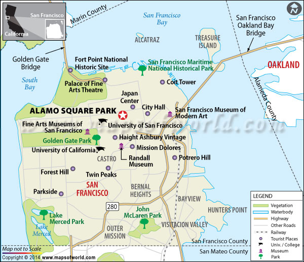 Location map of Alamo Square Park (San Francisco)