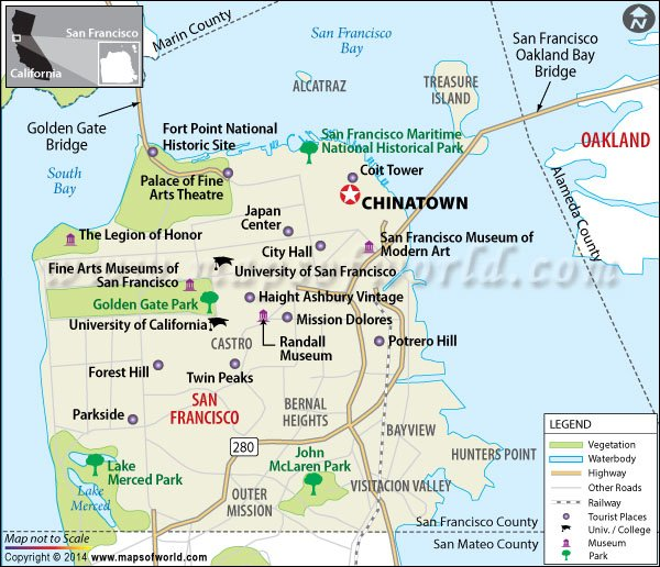 Location map of Chinatown (San Francisco)