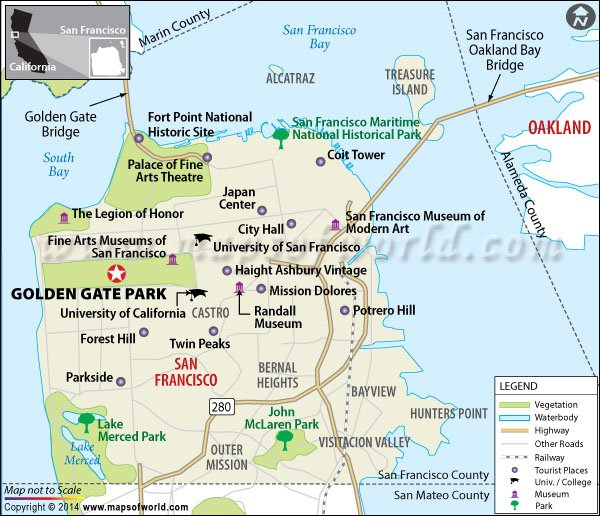 Location map of Golden Gate Park (San Francisco)