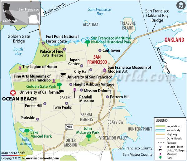 Location map of Ocean Beach of San Francisco