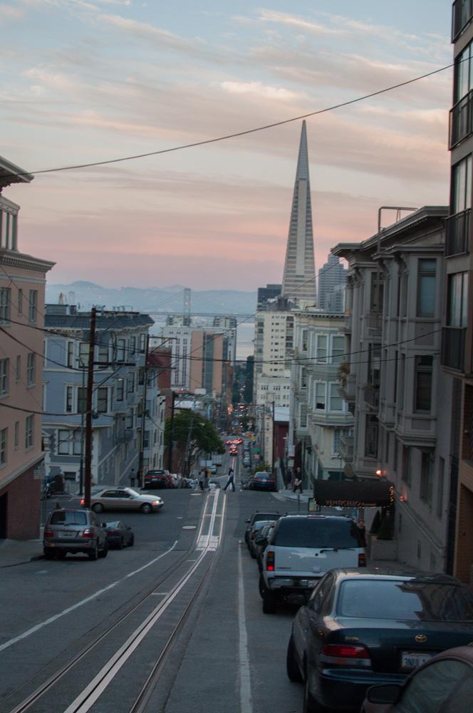 Cable car tracks down a steep SF street