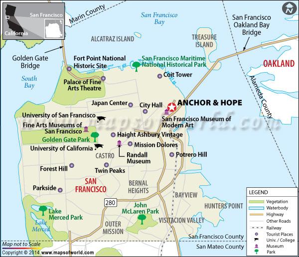 Anchor & Hope Restaurant Location Map