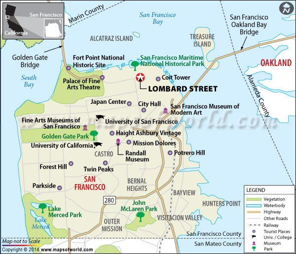 Lombard Street San Francisco Map