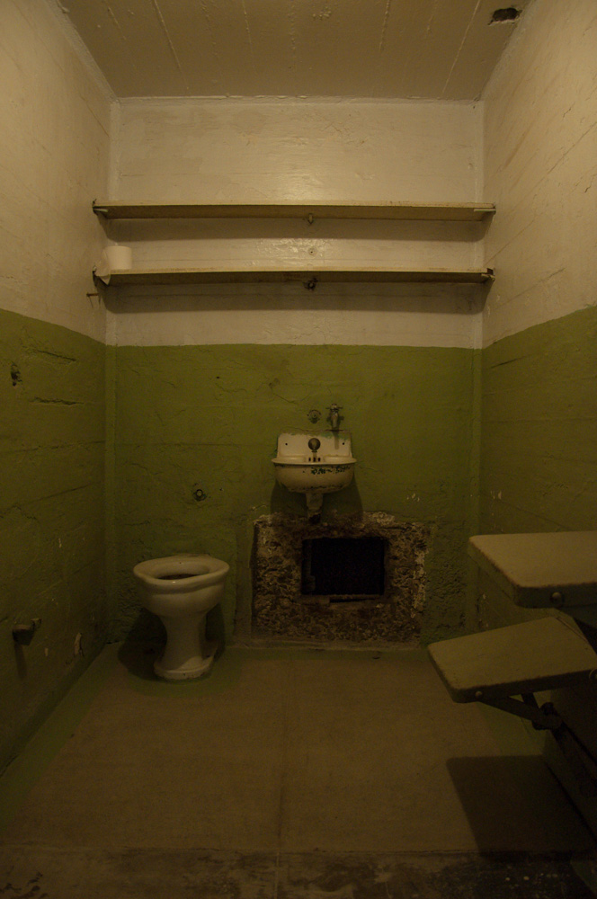 The tunnel carved out of a cell used in the Escape from Alcatraz