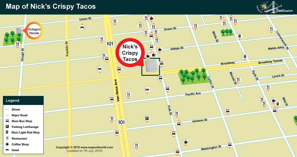 Location of Nick's Crispy Tacos Restaurant