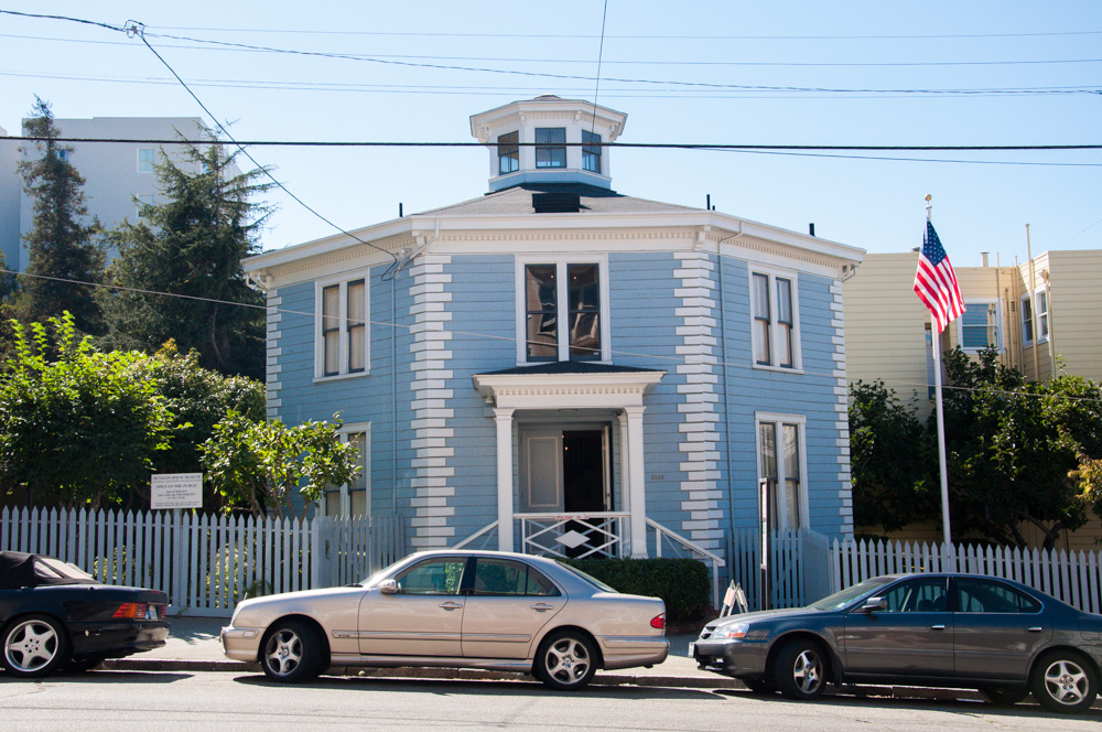 The cupola of the octagon house viewed from the street