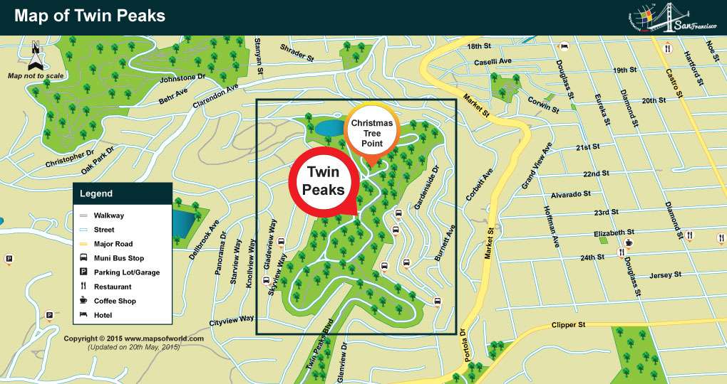 Location Map of Twin Peaks in San Francisco