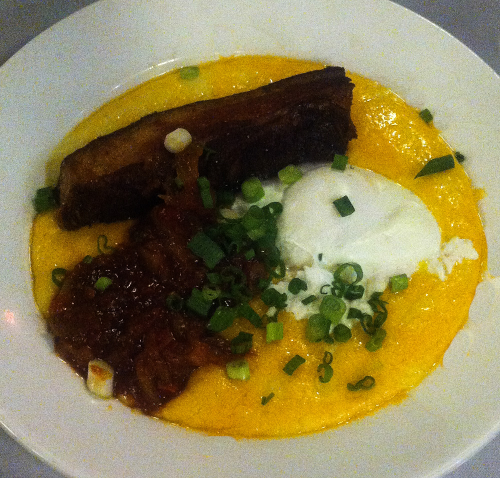 Pork belly cheese grits