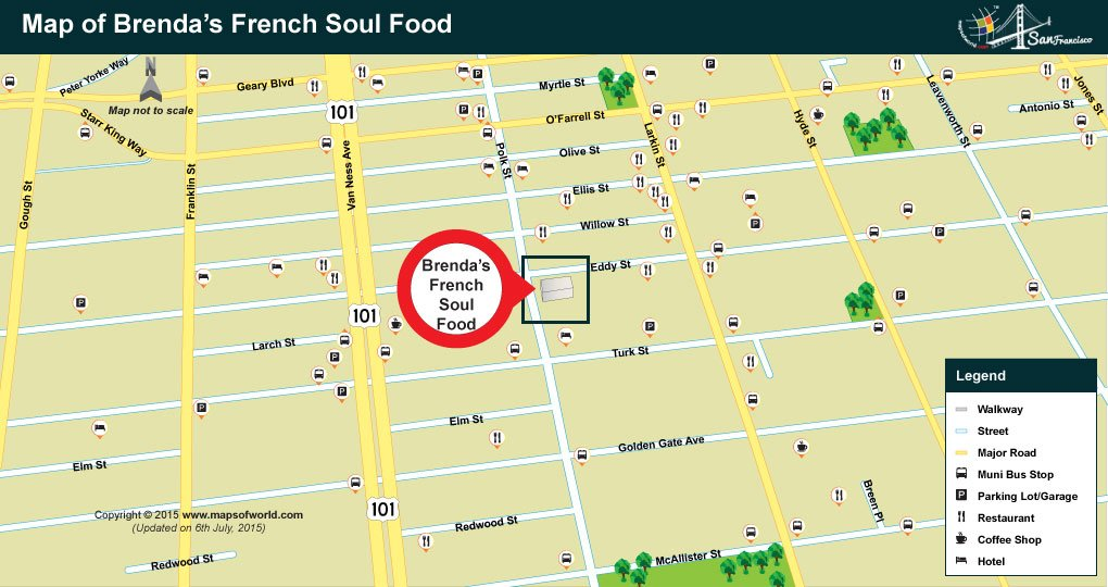 Map showing location of Brendas French Soul Food
