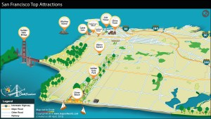 Location of Top 10 attractions in San Francisco