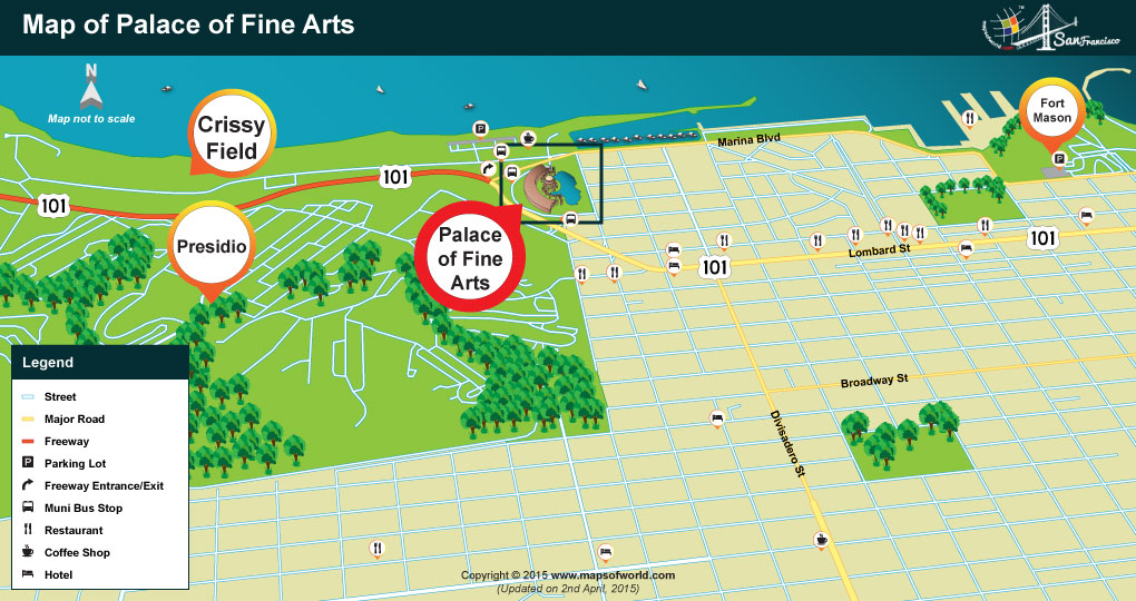 Location Map of Palace of Fine Arts, San Francisco