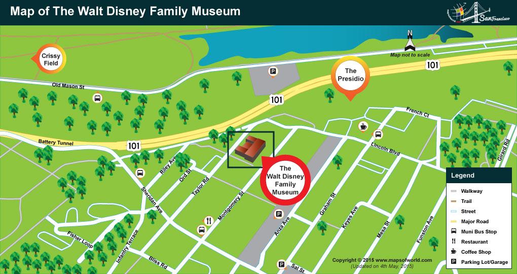 Location Map of Walt Disney Family Museum