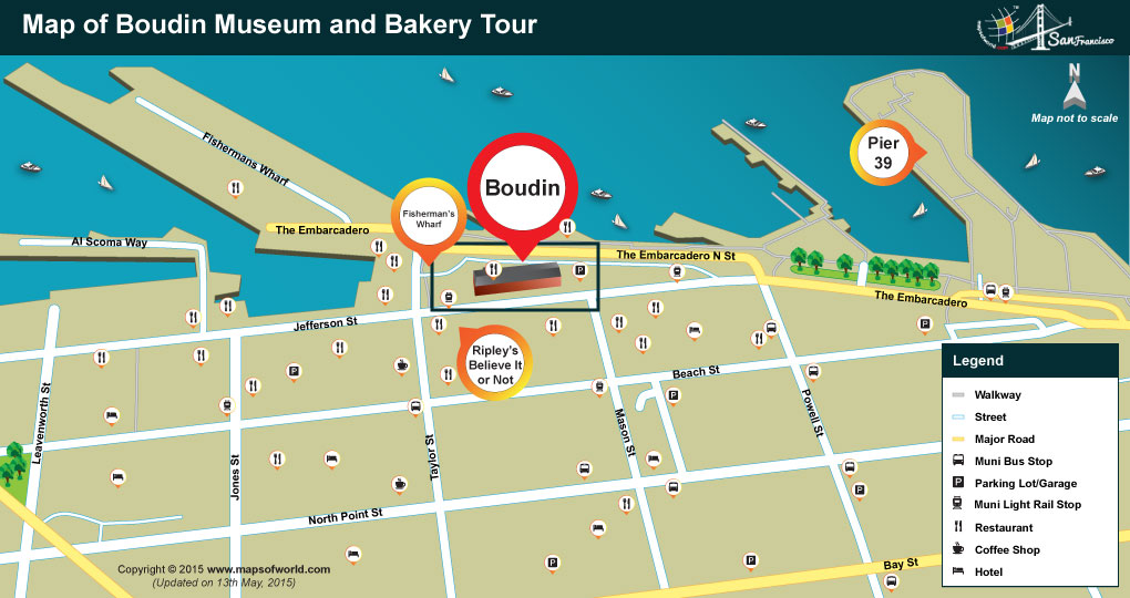 Map of Boudin Museum and Bakery