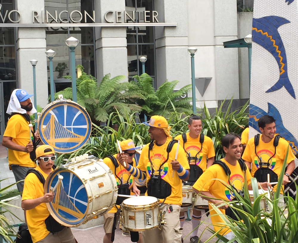 The Golden State Warriors drumline practice before the march