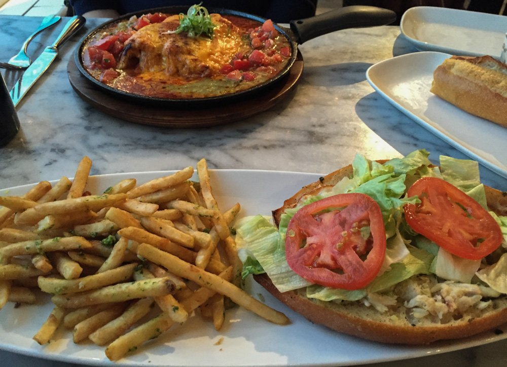 Crab House enchiladas and sandwich