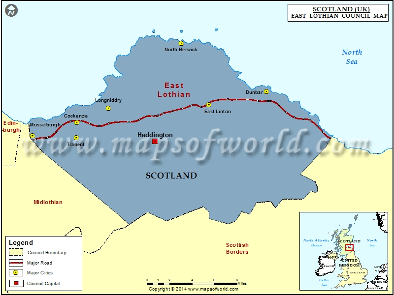 Map of East Lothian Council, Scotland (UK)