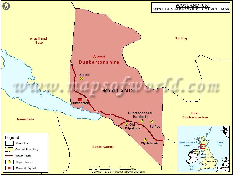 Map of West Dunbartonshire Council, Scotland (UK)