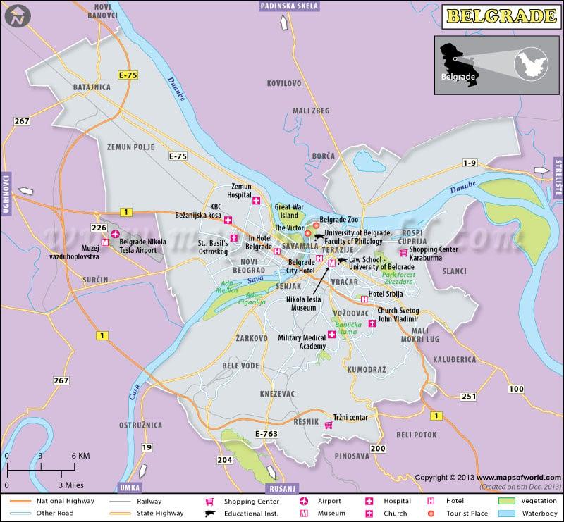 Belgrade Map Map of Map City Serbia