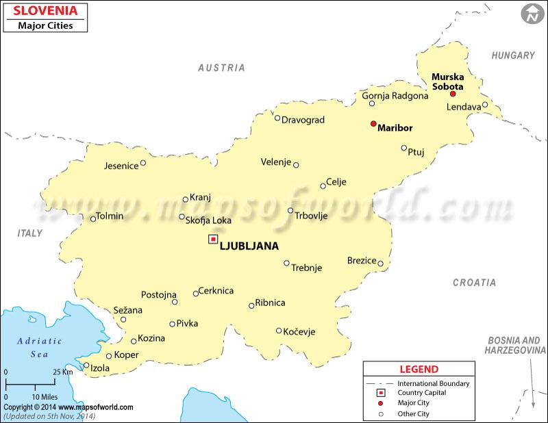 Slovenia cities Map