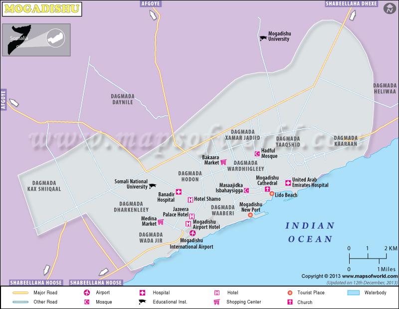 Mogadishu Map | Map of Mogadishu City, Somalia Mogadishu Map