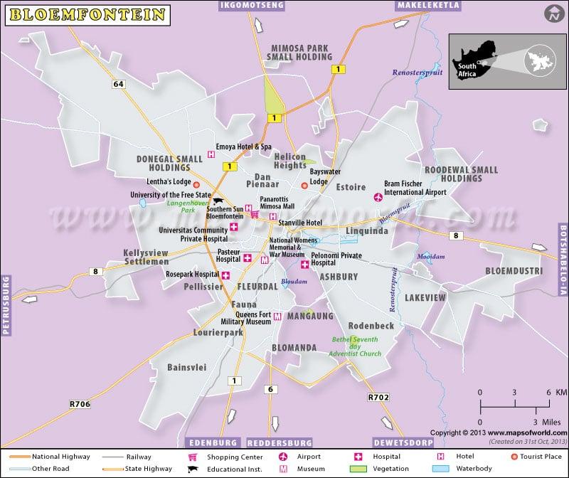map of bloemfontein