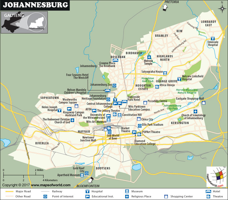 Johannesburg Map, South Africa