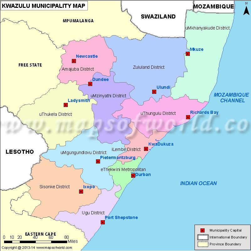 Natal South Africa Map.Kwazulu Natal Map Municipalities In Kwazulu Natal South Africa