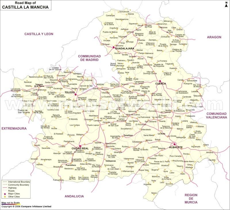 Map Of Spain La Mancha.Castile La Mancha Road Network Map Spain