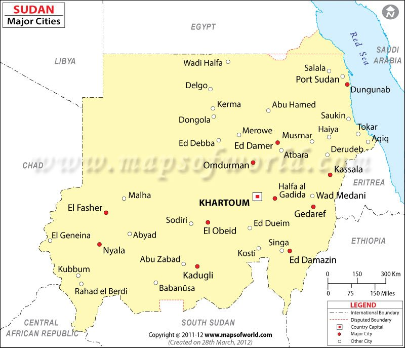 Sudan Cities Map Cities in Sudan