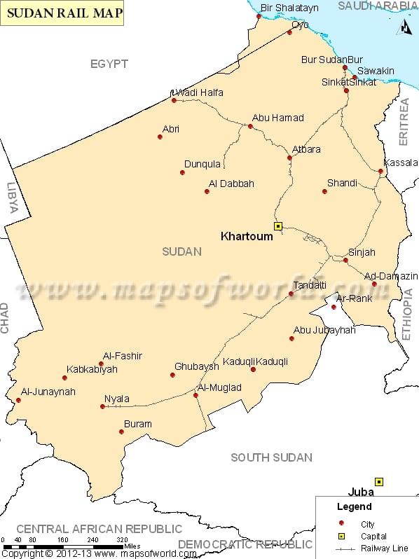 Sudan Rail Map