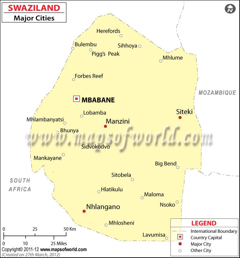 eSwatini (Swaziland) Cities Map