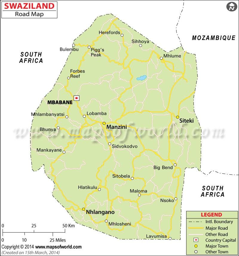 eSwatini (Swaziland) Road Map