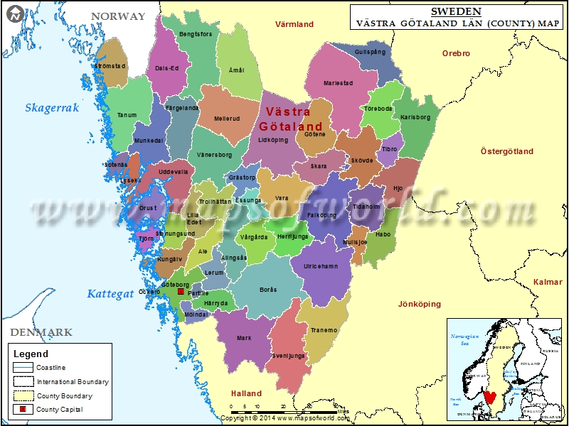 Vastra Gotaland Map