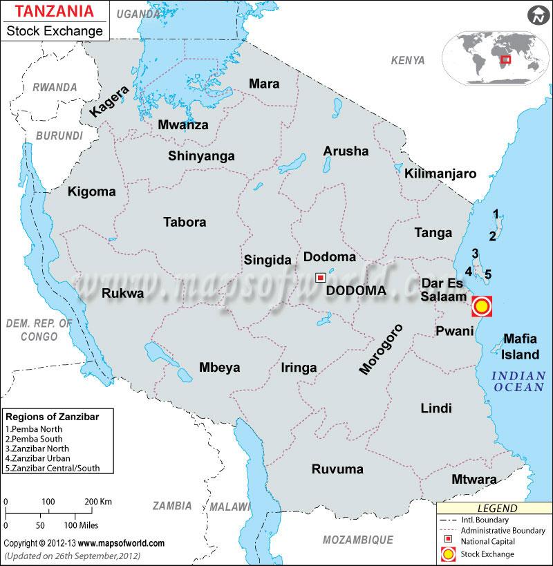 Tanzania Stock Exchange Location Map