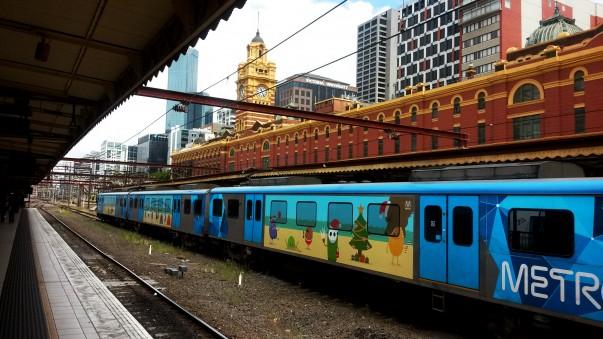 Metro train at Flinders street platform