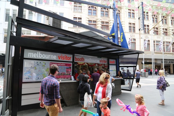 Visitor booth at Bourke street