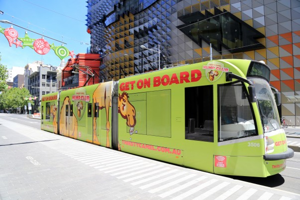 City Trams with an impressive billboard
