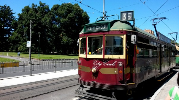 Free City Circle loop tram route number 35 (maroon color) Melbourne