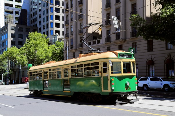 Free City Circle loop tram route number 35 (green color), Melbourne